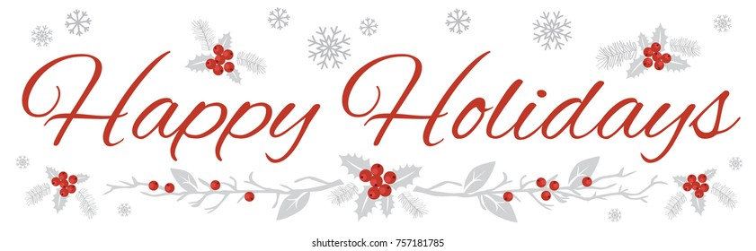 Happy Holidays Wide Banner on White Background 1