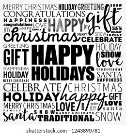 Happy Holidays word cloud collage, holiday concept background