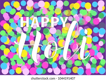 HAPPY HOLI-spring festival of colors greeting vector background with yellow, green, magenta color. Ideal for banner, greeting cards, invitation, badge. Vector illustration EPS 10