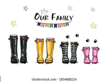 Happy home family four 4 concept. Different colors wellies collection. Rubber boots autumn fall concept. Vector illustration in watercolor style. Decoration family card and poster on white background.