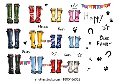 Happy home family four concept. Different colors wellies collection. Rubber boots autumn fall concept. Vector illustration in watercolor style. Decoration family card on white background.