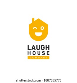 Happy home fun comedy laugh house logo, house logo with big laugh smile face expression icon illustration concept vector