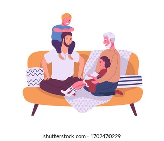Happy homosexual family with children sitting on the sofa isolated on white background. Parents spend time with son and daughter. Happy lgbt couple with kids. Vector illustration in flat cartoon style