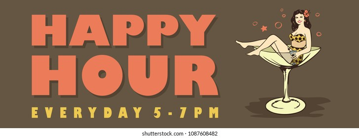 Happy Hour Banner, Woman in swimsuit sitting in a cocktail glass, Vector