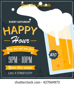 Happy hour, bar flyer or poster, vector illustration. Buy one beer get one free