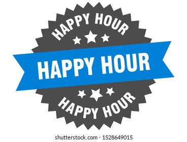 happy hour blue sign. happy hour blue-black circular band label