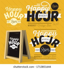 Happy Hour Call Sign Logo Related Vector Illustrations Designs.