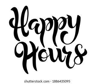 Happy hour card. Banner poster calligraphy inscription, black text. Hand drawn design elements. Handwritten modern brush lettering white background, isolated vector.
