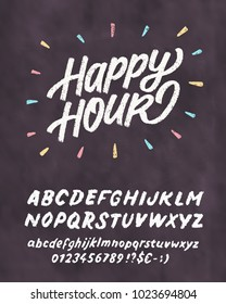 Happy hour. Chalkboard sign template.