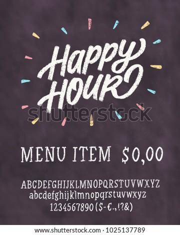 Happy hour chalkboard sign template stock vector royalty free happy hour chalkboard sign template maxwellsz