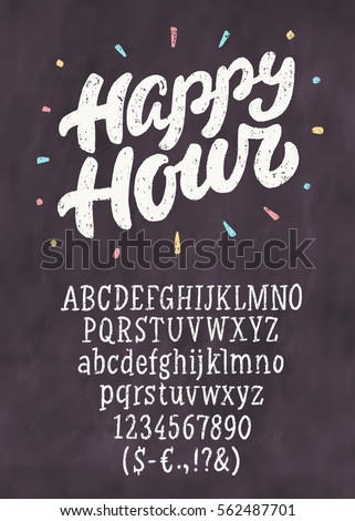 happy hour chalkboard sign template stock vector royalty free
