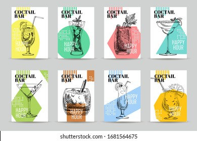 Happy hour cocktail bar menu design template, hand drawn retro vector illustration. Set of labels cards alcoholic beverages, vintage-style sketch isolated on white background.