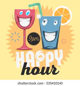 Happy Hour.  Cool Funny Cartoon Illustration Of Smiling Glass Characters Male And Female Looking Each Other. Vector Graphic.
