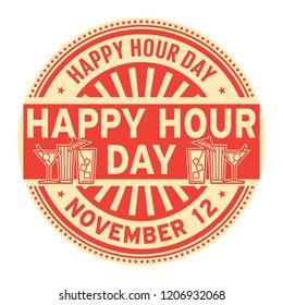 Happy Hour Day, November 12, rubber stamp, vector Illustration