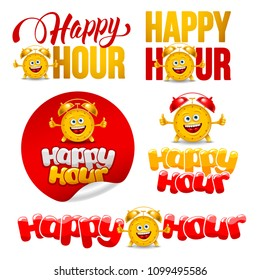 Happy Hour design elements set with cute and cheerful alarm clock. Vector illustration.