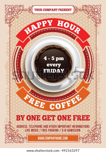 Happy Hour Free Coffee Vintage Illustration Stock Vector Royalty