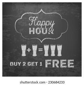 Happy Hour Hand Drawn Design on Blackboard. Buy 2 Get 1 Free
