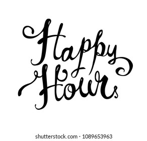 Happy hour. Hand written doodle vector words on white background