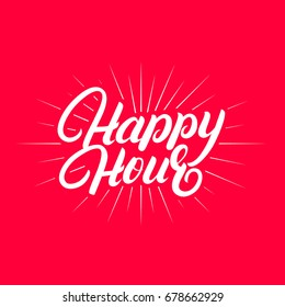 Happy hour hand written lettering. Modern brush calligraphy. Isolated on red background. Vector illustration.