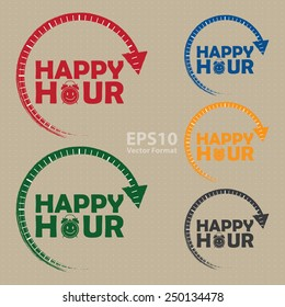 happy hour icon, label, banner, sign, vector format