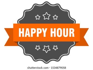 happy hour isolated sign. happy hour orange sticker