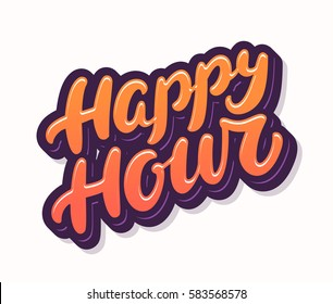 Happy hour. Lettering.
