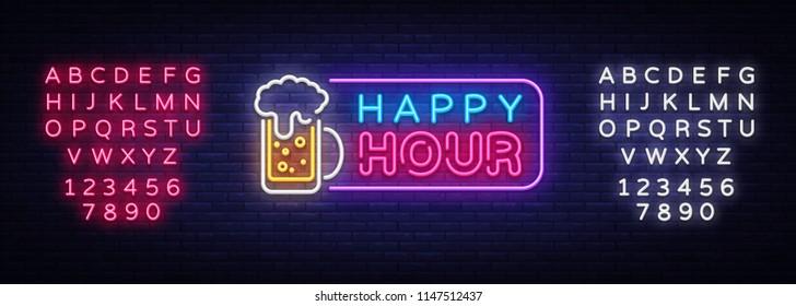 Happy Hour neon banner vector design template. Happy Hour neon text, light banner design element colorful modern design trend, night bright advertising, bright sign. Vector. Editing text neon sign