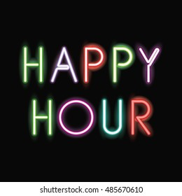 Happy hour neon font icon. Text typography decoration and advertising theme. Colorful design. Vector illustration