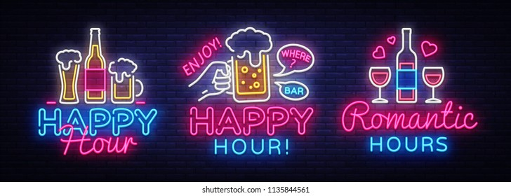 Happy Hour neon sign collection vector. Happy Hour Design template neon sign, Night Dinner, celebration light banner, neon signboard, nightly bright advertising, light inscription. Vector illustration