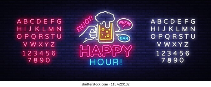 Happy Hour neon sign vector. Happy Hour Design template neon sign, Night Dinner, celebration light banner, neon signboard, nightly advertising, light inscription. Vector. Editing text neon sign