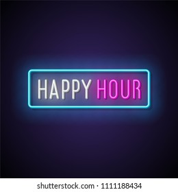 Happy hour neon signboard. Vector illustration.