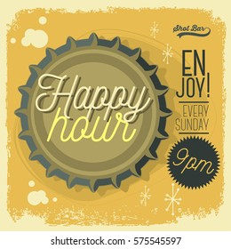Happy Hour New Age 50s Vintage Poster Sign Design With Top View Beer Bottle Cap  Illustration  For Promotion.  Vector Graphic.