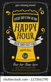 Happy Hour offer flyer template. Free beer. Vintage  discount invitation card template & advertising for web, poster, flyer, invitation to party. Eps 10. To see similar, please VISIT MY PORTFOLIO.