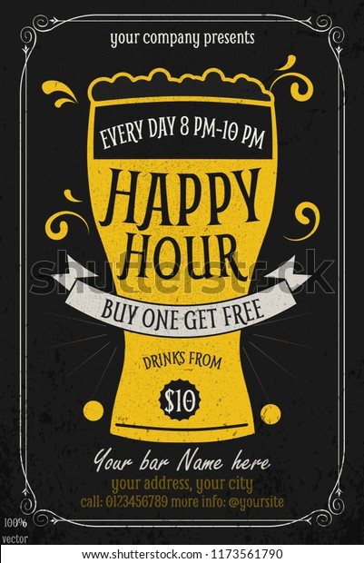 Happy Hour Offer Flyer Template Free Stock Vector Royalty