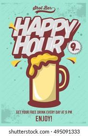 Happy Hour Poster  For Advertising. Beer Mug Illustration. Comic Inscription. Grunge Background. Vector Image.