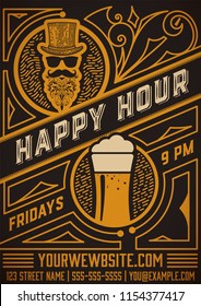 Happy hour poster. Vintage Style