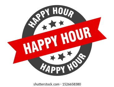 happy hour red sign. happy hour black-red round ribbon peeler