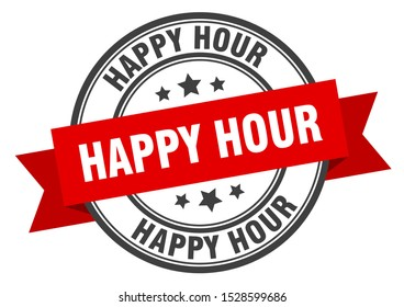 happy hour red sticker. happy hour black-red band stamp