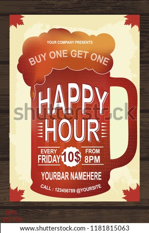 Happy Hour Retail Shopping Template Free Beer Offer Banner Design Vintage Illustration For Web Poster Flyer Invitation To Party