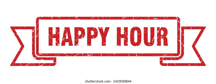 happy hour ribbon grunge isolated stamp. happy hour sign