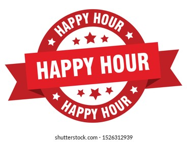 happy hour ribbon sign. happy hour red peeler