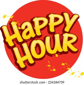 Happy Hour title, casual grunge style against a circle background