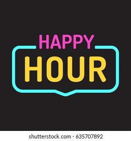 Happy hour. Vector badge, neon effect illustration on dark background.