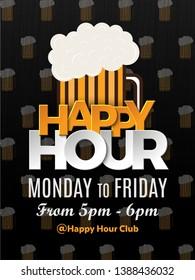 Happy Hour Vector Illustration Background for Poster, Banner, Sign Board, Promotion, Web.