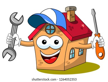 Happy house cartoon funny character fixing worker wrench screwdriver isolated on white