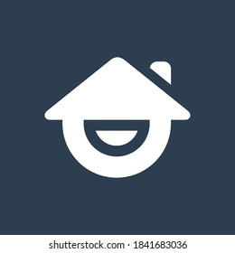 Happy house logo design, smiling home icon, real estate with smile symbol - Vector