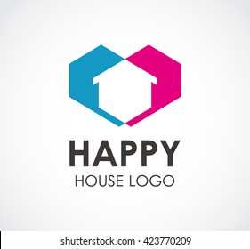 Happy house of love residence abstract vector and logo design or template real estate business icon of company identity symbol concept