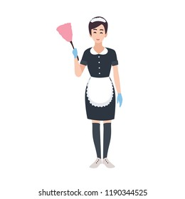 Happy housemaid, maid, housekeeping or house cleaning service worker wearing uniform. Pretty female cartoon character isolated on white background. Colorful vector illustration in flat style.