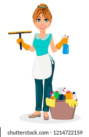 Happy housewife. Cheerful mother, beautiful woman. Cartoon character holds cleaning agents. Vector illustration on white background.