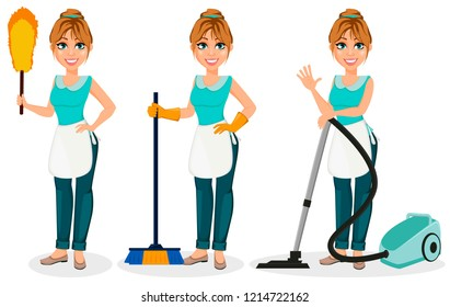 Happy housewife. Cheerful mother, beautiful woman, set of three poses. Cartoon character holds dust brush, holds broom and holds vacuum cleaner. Vector illustration on white background.